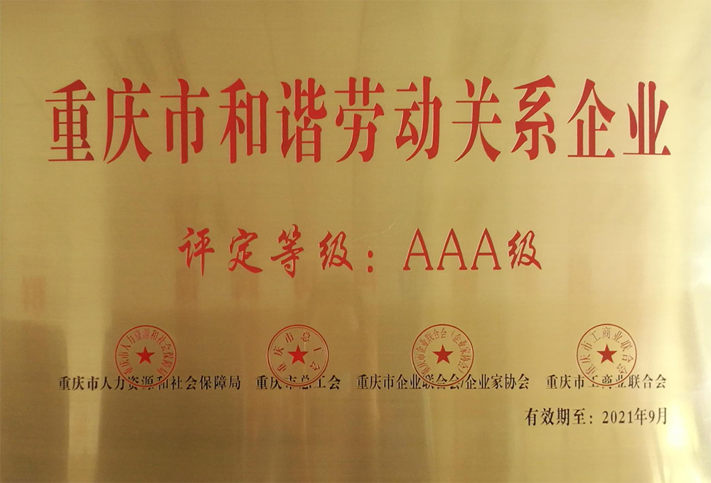 Chongqing Harmonious Labor Relations Enterprise AAA